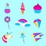 Set Magiczna ikona Świat Fantazji jednorożec Kreskówka styl Obraz Stock