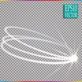 Set magiczny rozjarzony iskrowy zawijasa śladu skutek na przejrzystym tle Bokeh błyskotliwości fala linia z lataniem obrazy stock
