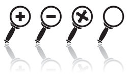 Set of  the magnifiers. Set of optical icons, illustration Royalty Free Stock Image