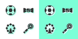 Set Magnifying glass, Football ball, London eye and Bow tie icon. Vector