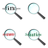 Set of  magnifying glass icons. With text Stock Images
