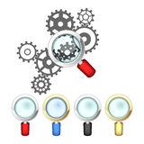 Set of magnifying glasses and mechanism Stock Photography