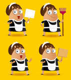 Set of Maid. With sweeper. Vector illustration Royalty Free Stock Photo