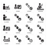 Set of Maid, Support, Gardener, Taxi driver, Chef, Politician, call center, Astronaut, De icons. Set Of 16 simple  icons such as Maid, Support, Pensioner Royalty Free Stock Photography