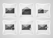 Set of mail and message icons. Set of mail and message icons,  icons of gray color Stock Photos