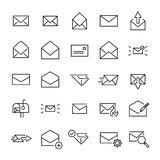 Set of 25 mail thin line icons. High quality pictograms of letter. Modern outline style icons collection. Contact, email, send, message, etc Stock Photos