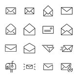 Set of 16 mail thin line icons. High quality pictograms of letter. Modern outline style icons collection. Contact, email, send, message, etc vector illustration