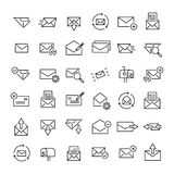 Set of 36 mail thin line icons. High quality pictograms of letter. Modern outline style icons collection. Contact, email, send, message, etc Royalty Free Stock Photography