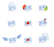 Set of mail vector icons. Mail icons isolated on white - vector illustration Stock Photography