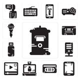 Set of Mailbox, Tablet, Vhs, Video call, player, Server, Pendrive, Cassette, Microphone icons. Set Of 13 simple  icons such as Mailbox, Tablet, Vhs, Video call Stock Images