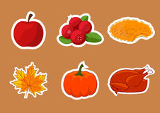 Set majchery dla Szczęśliwego dziękczynienie dnia Odznaka, ikona, szablon jabłko, cranberries, dyniowy kulebiak, liść, indyk Obraz Stock