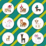 Set majchery z wizerunkami psy Dziecka ` s stylizujący obrazek ilustracja wektor