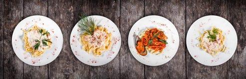 Set makaron od kuchni na całym świecie Fettuccine makaronu mięso, owoce morza makaron z garnelą, ostrygi, ośmiornica, ser i ziele zdjęcia royalty free
