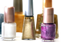 Set for make-up. (focus on violet nail polish Stock Photography