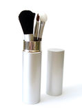 Set of make-up brushes. On white Royalty Free Stock Photography