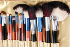 Set of make-up brushes. In golden leather case close up Stock Image