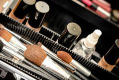 Set of make-up brushes in a black case Royalty Free Stock Images