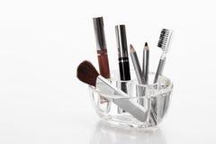 Set of make-up brushes and cosmetics Royalty Free Stock Image