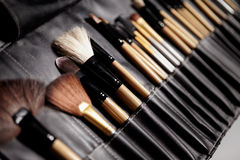 Set of make-up brushes. Tools for professional visage, maskara, eyeshadows, foundation, lipstick, blush and facial cream Stock Images