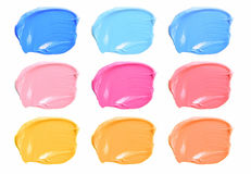 Set of make up color smears lipstick isolated on white background. Royalty Free Stock Images