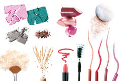 Set of make up products stock images