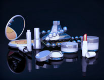 Set of make-up products on black background. Stock Photo