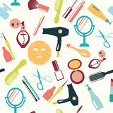 Set of make up themed pattern-illustration Royalty Free Stock Image