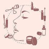 Set make up tools around face Royalty Free Stock Photo