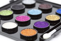 Set makeup. With glitter paint composed of colors Royalty Free Stock Image