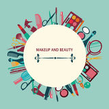 Set of makeup and beauty elements  pattern-illustration Royalty Free Stock Photo
