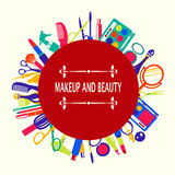Set of makeup and beauty elements  pattern-illustration Royalty Free Stock Photos