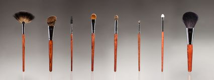 Set of makeup brushes Stock Image