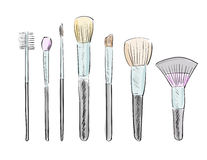 Set of makeup brushes Stock Photography