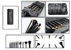 Set of makeup brushes on colored composed background royalty free stock image