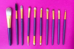 Set of makeup brushes on a pink background, close-up, brush royalty free stock image