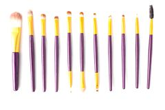 Set of makeup brushes on white background, isolate, cosmetic stock photos
