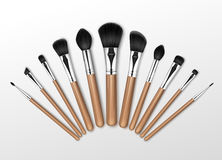 Set of Makeup Concealer Powder Blush Brow Brushes. Vector Set of Black Clean Professional Makeup Concealer Powder Blush Eye Shadow Brow Brushes with Wooden Royalty Free Stock Photography
