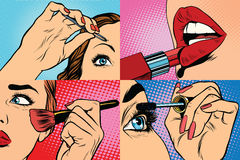 Set of makeup and cosmetic beauty woman Stock Image