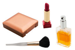 Set of makeup cosmetics. Isolated on white Royalty Free Stock Photography