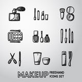 Set of makeup freehand icons. Vector Stock Photography