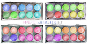 A set with the makeup kits with eyeshadows painted in a watercolor. Royalty Free Stock Photography