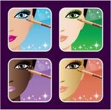 Set makeup młody europejczyk, azjata, Afrykańskie kobiety ilustracja wektor