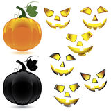Set of makeup pumpkin for Halloween Stock Photos