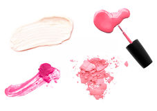 Set of makeup samples on white background Royalty Free Stock Image