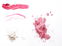 Set of makeup samples on white background Royalty Free Stock Photo