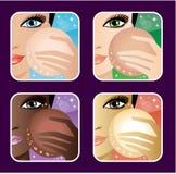 Set of makeup young European, Asian, African women. Vector, EPS10, gradient Stock Photo