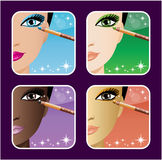 Set of makeup young European, Asian, African women Stock Images