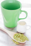 Set of making hot green tea latte drink Stock Image