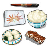Set for making sushi and chocolate dessert Royalty Free Stock Images