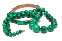Set of  malachite beads and bracelet Royalty Free Stock Photo